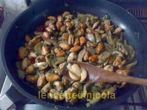 cucina,ricetta,ricette,ricette primi piatti,ricette fotografate,ricette con carciofi,ricette con cozze,